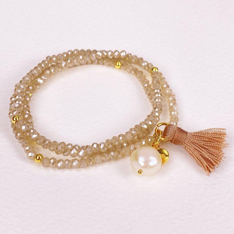 Cream Luna Pearl Bracelet/Necklace