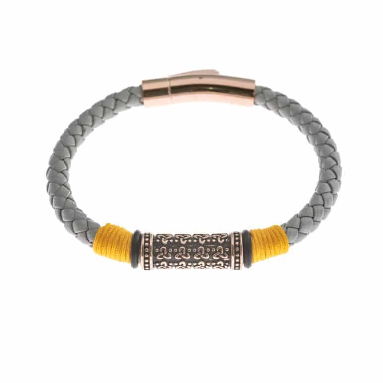 Grey Genuine Leather Bracelet
