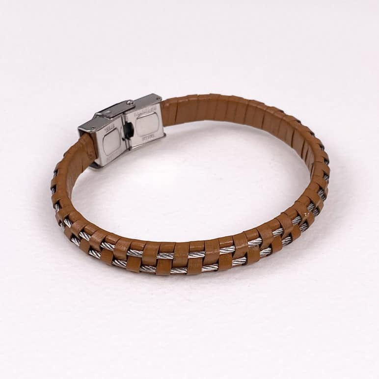 Tan Leather and Steel Cord Wristband