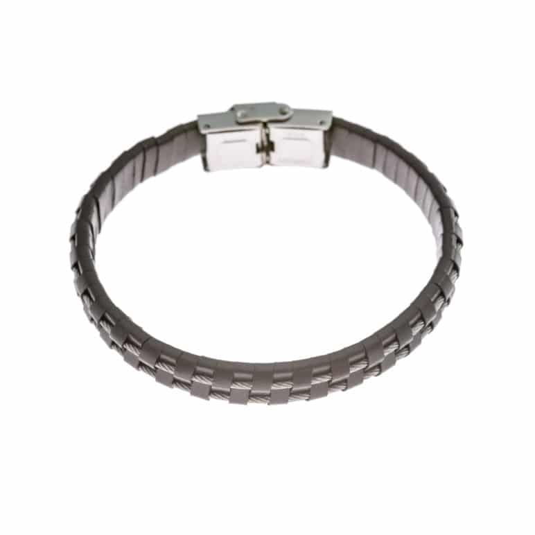 Brown Leather and Steel Cord Wristband