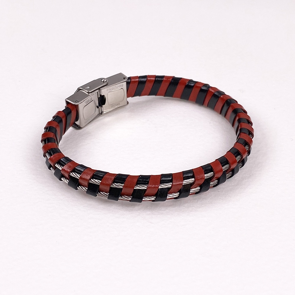 Two Colour Leather and Steel Cord Wristband