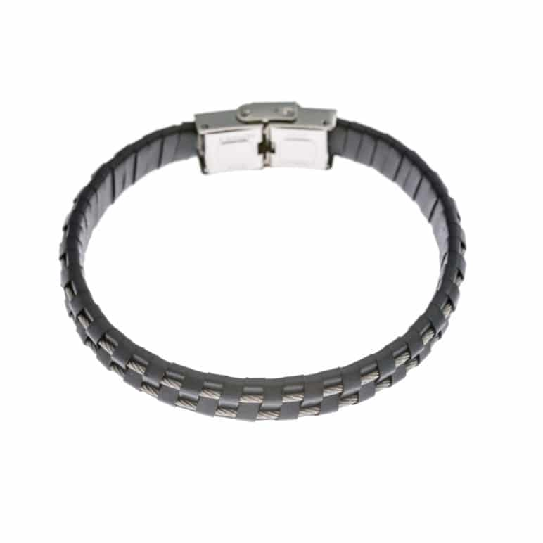 Navy Leather and Steel Cord Wristband