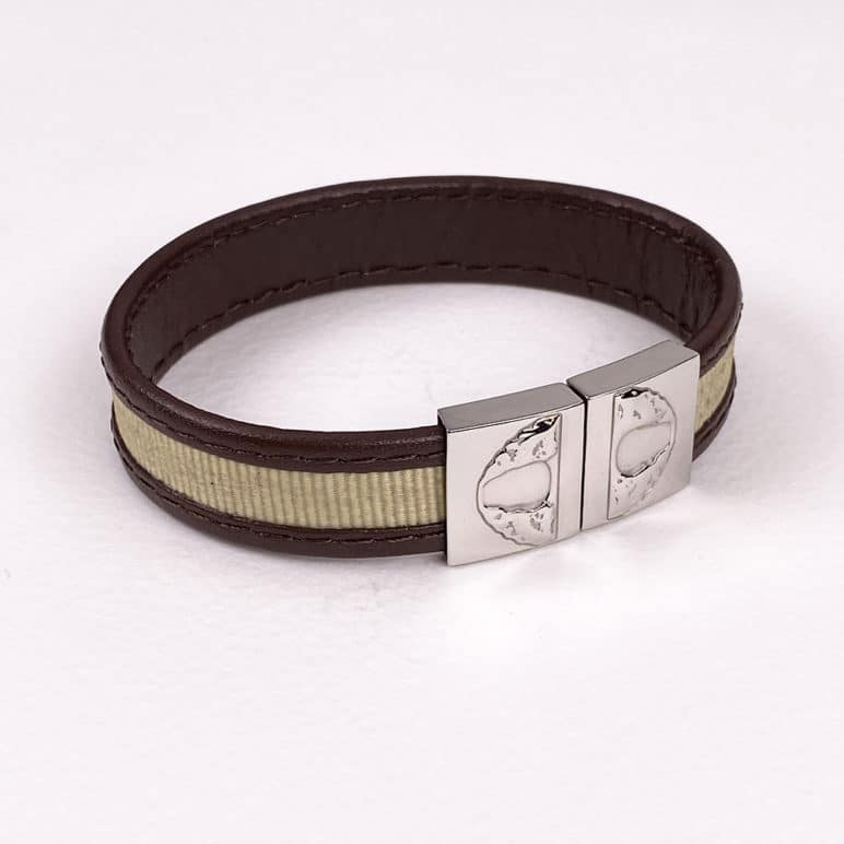 Brown Leather And Beige Textile Wristband