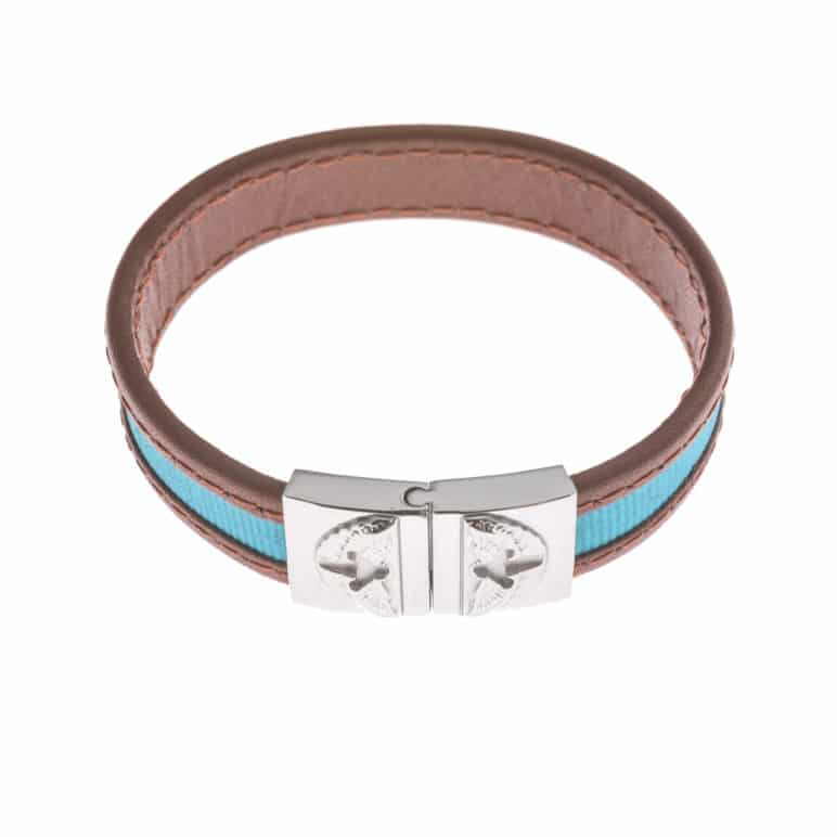 Brown Leather And Blue Textile Wristband