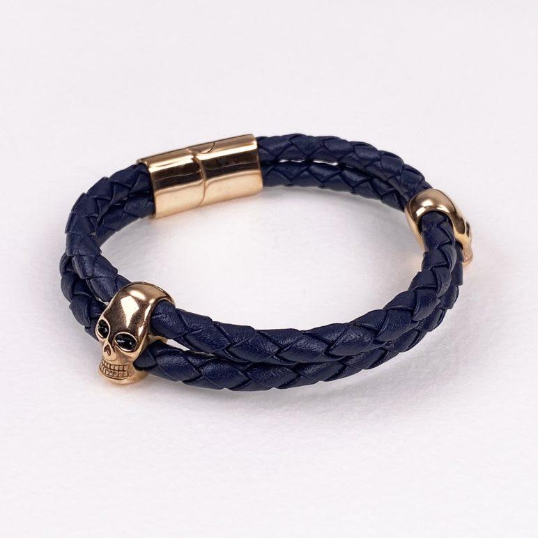 Navy Genuine Leather Bracelet
