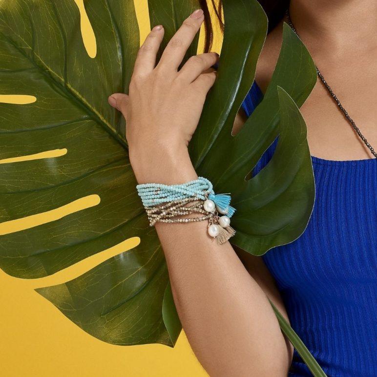 Turquoise Luna Pearl Bracelet/Necklace