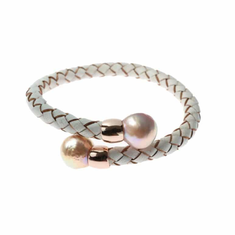 Alisio Edison Pearl White Leather Bracelet