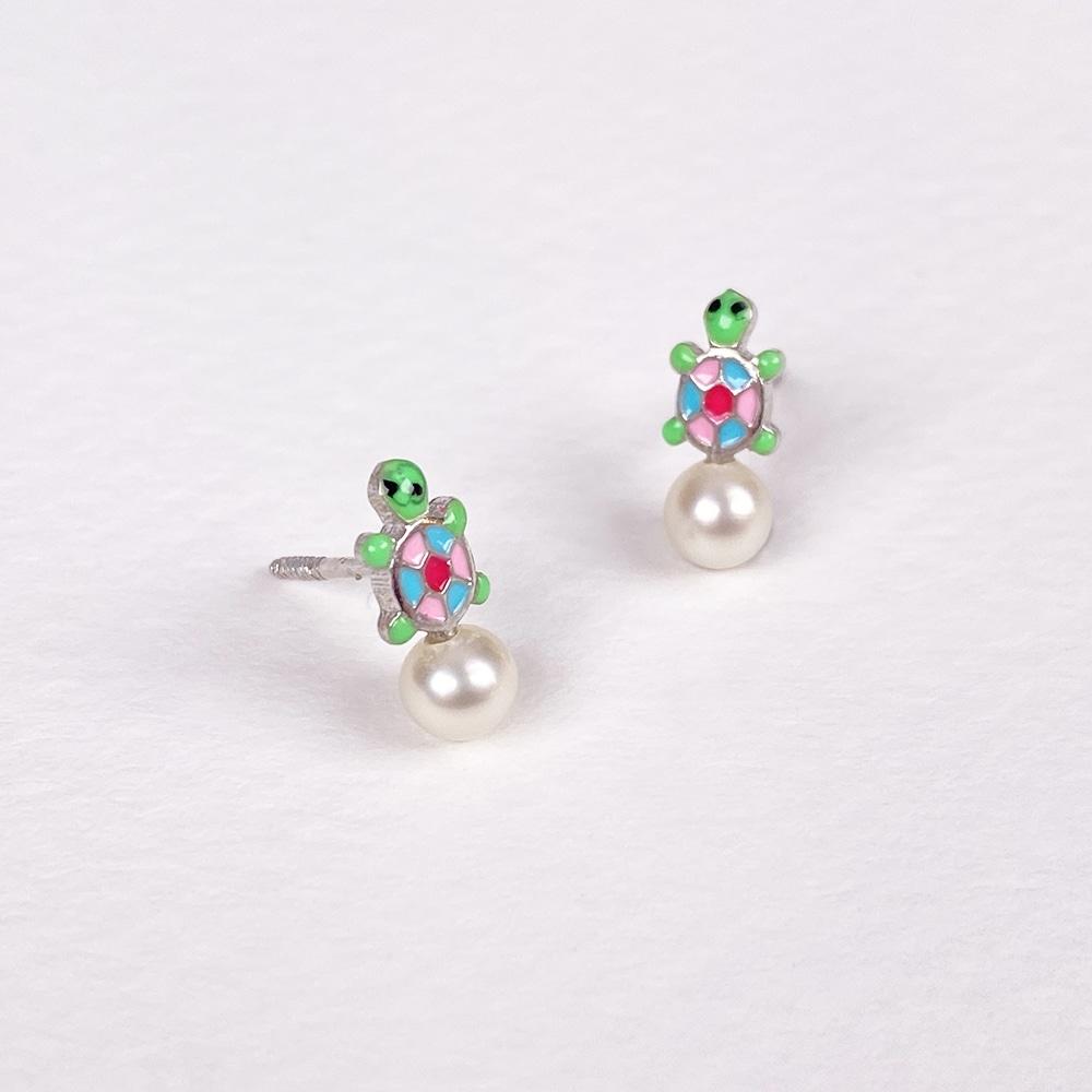 Children's Silver Turtle Earrings