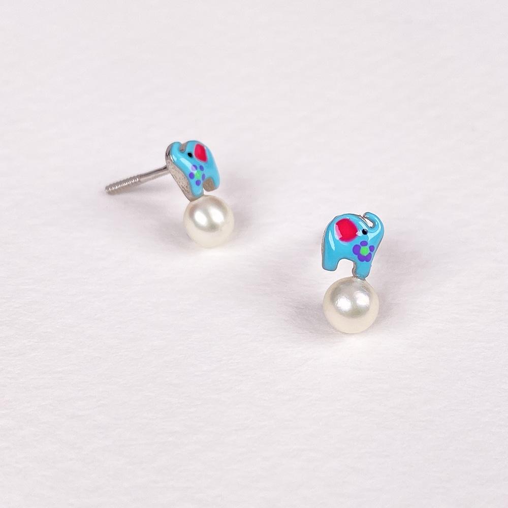 Children's Silver Elephant Earrings