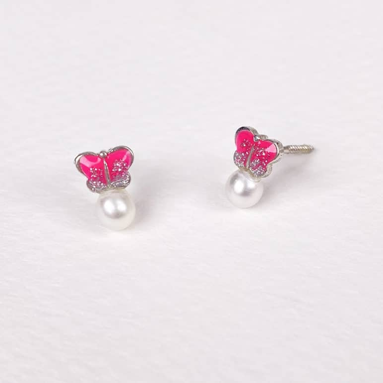 Children's Silver Sparkly Butterfly Earrings
