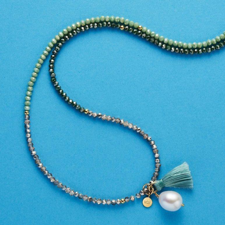 Triple Green Luna Pearl Bracelet/Necklace