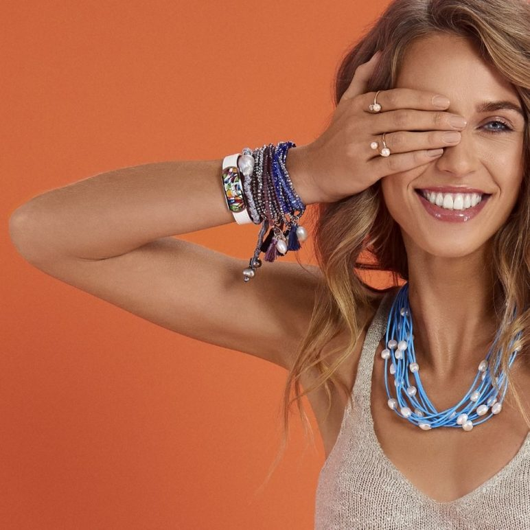 Triple Mauve Luna Pearl Bracelet/Necklace