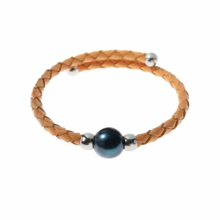 Camel Bahia Bracelet with Peacock Pearl