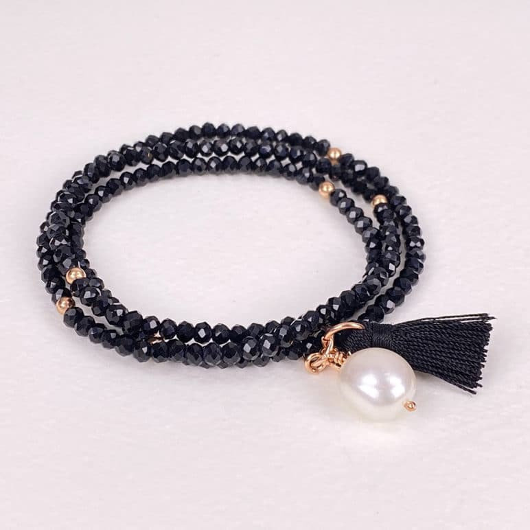 Black Luna Pearl Bracelet/Necklace