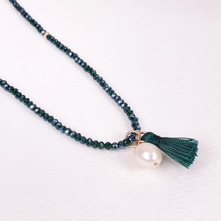 Green Luna Tassel Bracelet