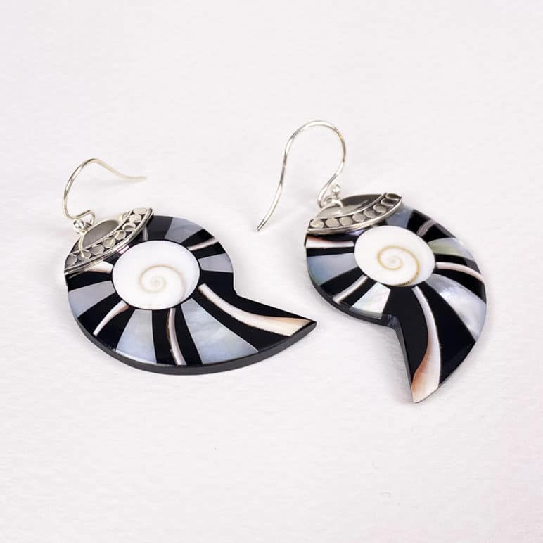 Bali Asymmetric Shell Earrings