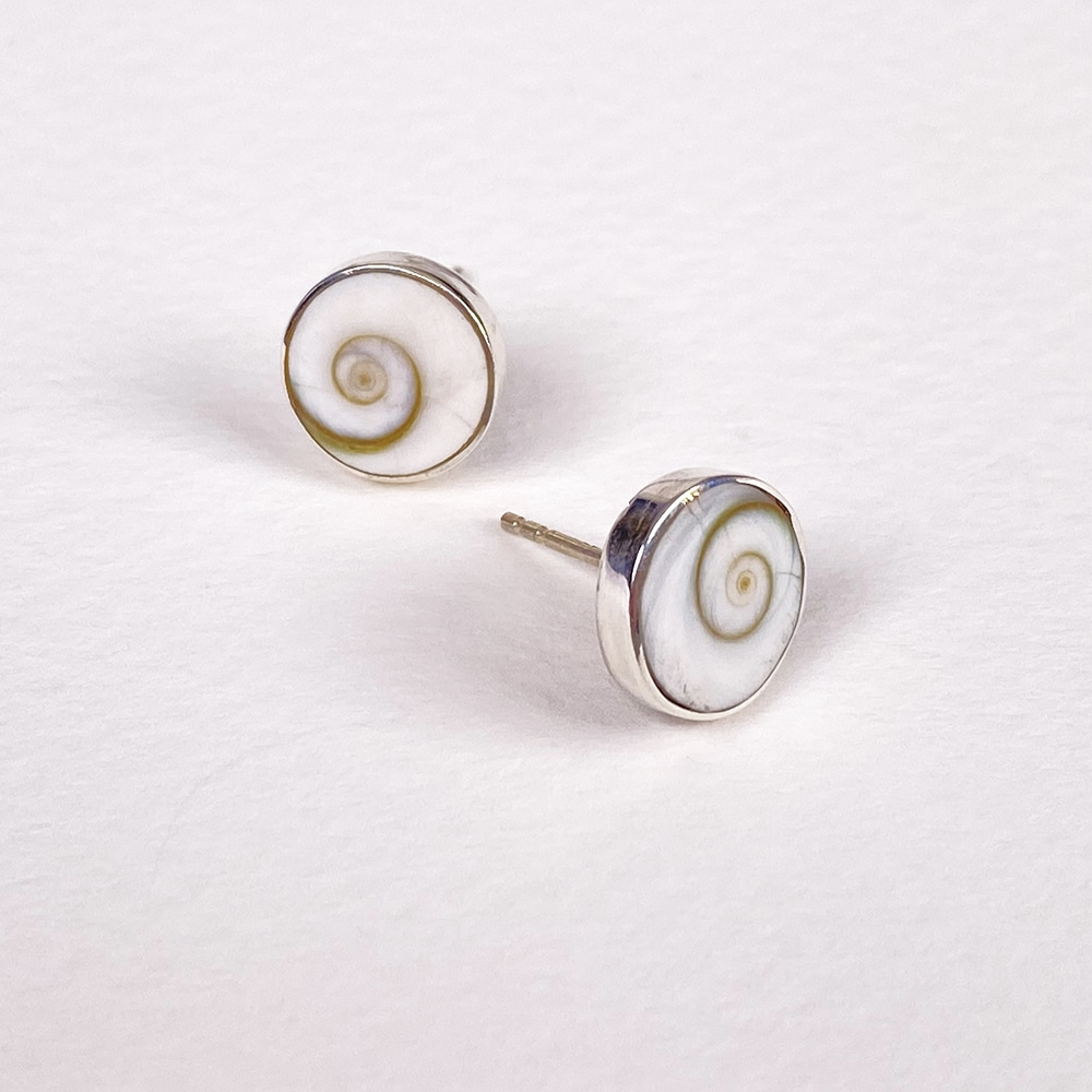 Bali White Shell Stud Earrings