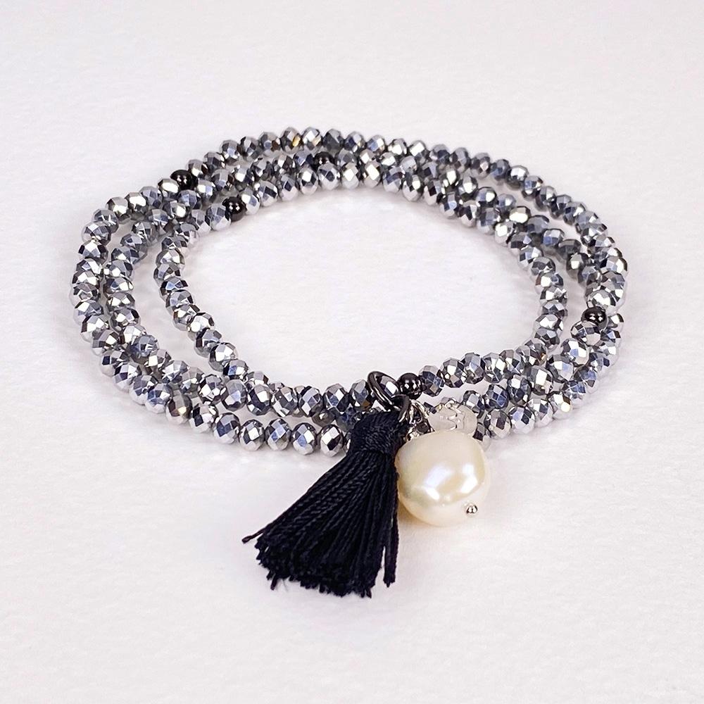 Silver Luna Tassel Bracelet