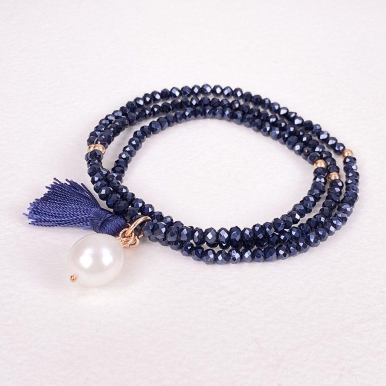 Navy Luna Tassel Bracelet