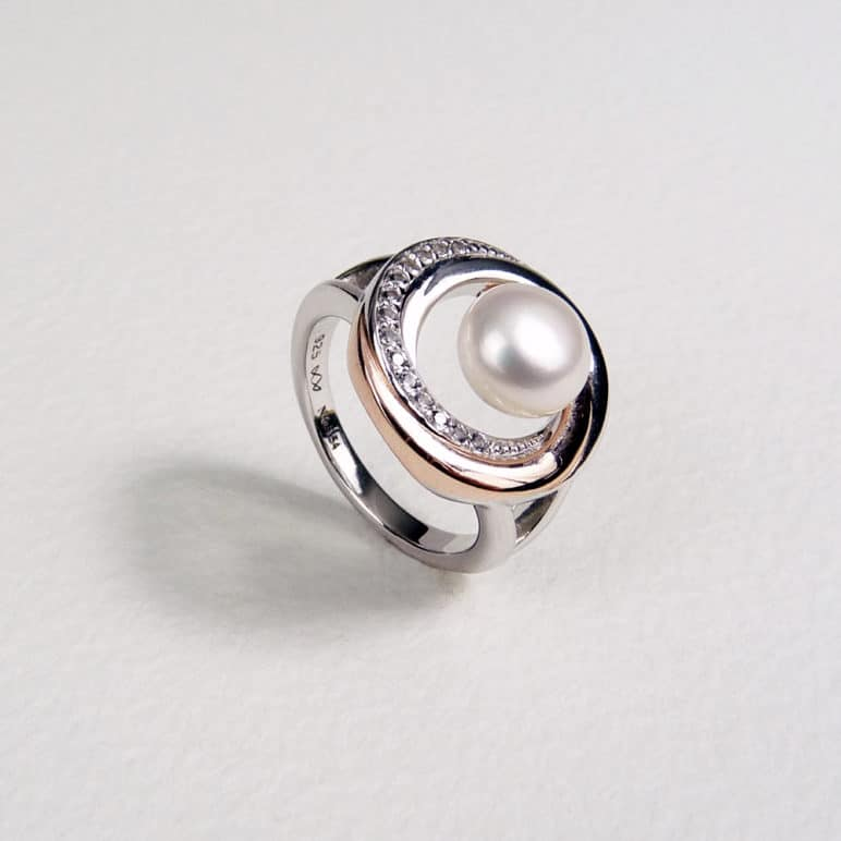 Rose and White Pearl Ring