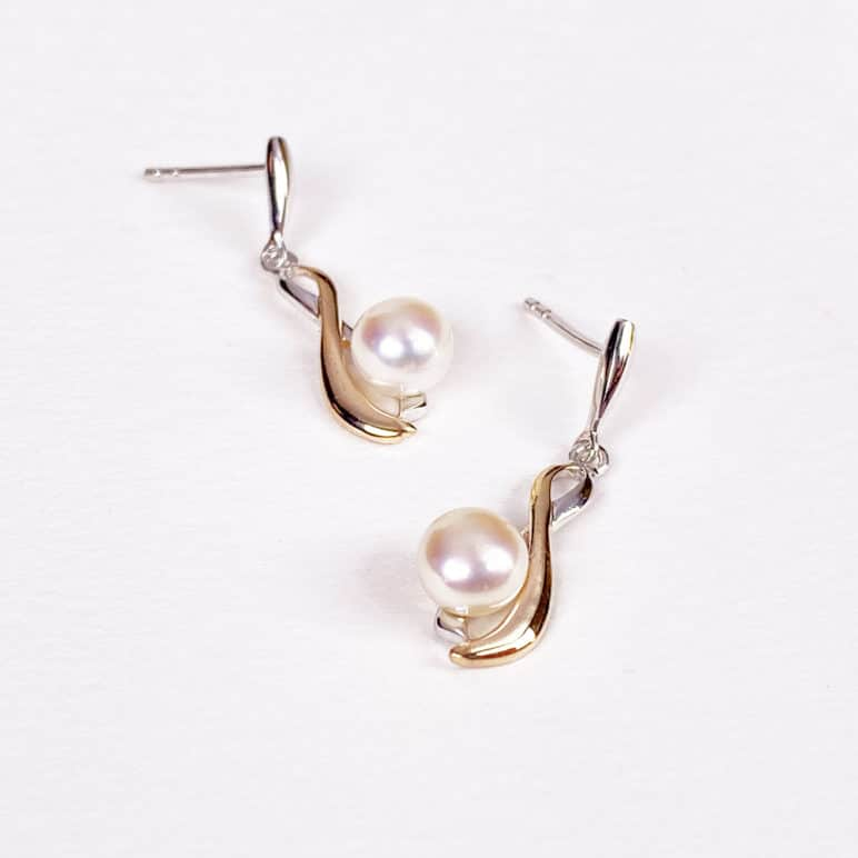 Rose and White Pearl Earrings