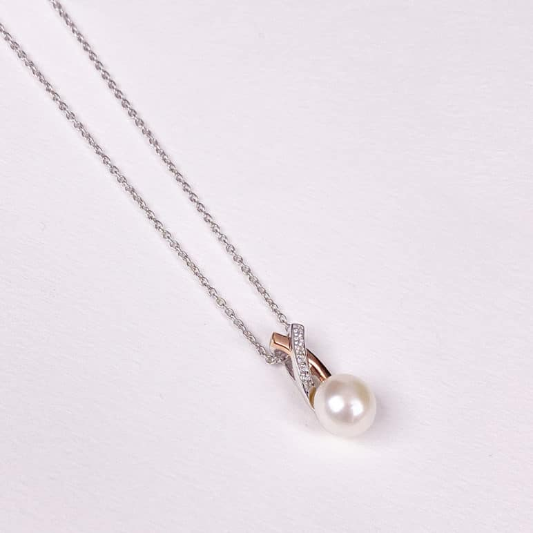 Rose and White Pearl Pendant