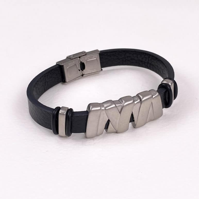 Black Genuine Leather Wristband