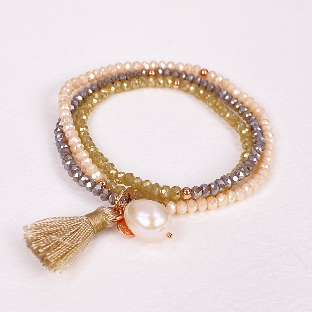 Triple Brown Luna Pearl Bracelet/Necklace