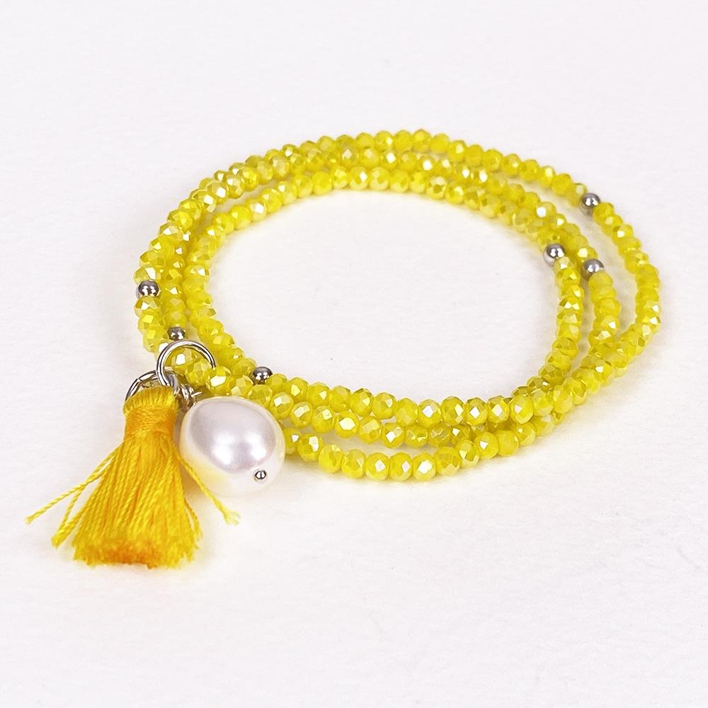 Yellow Luna Pearl Bracelet/Necklace