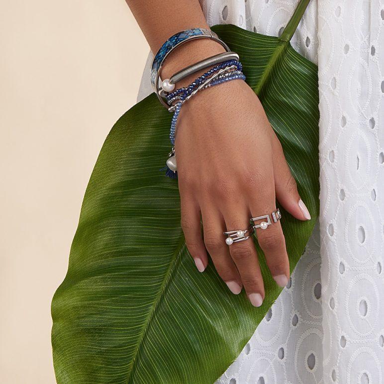 Triple Blue Luna Tassel Bracelet