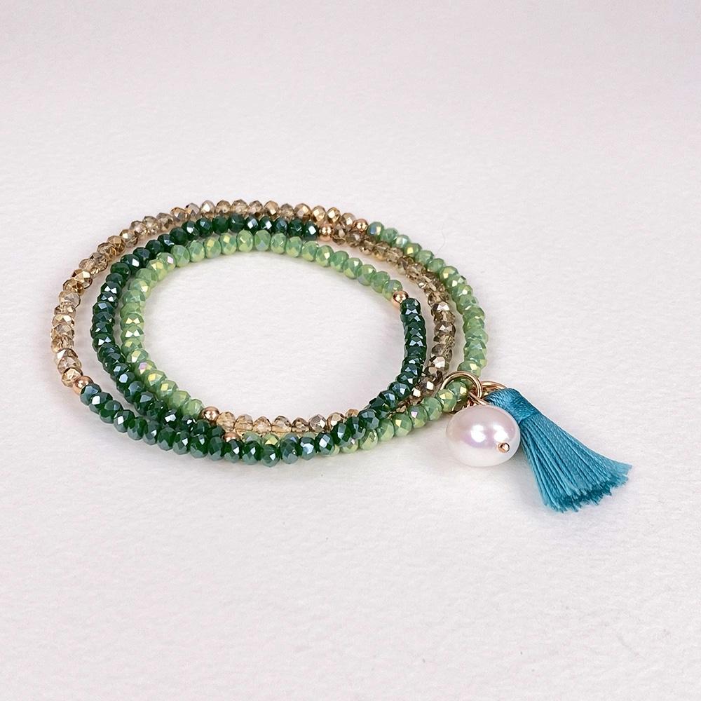 Triple Green Luna Tassel Bracelet