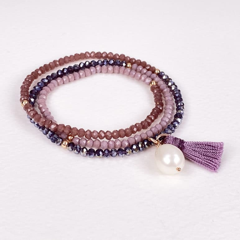 Triple Mauve Luna Tassel Bracelet