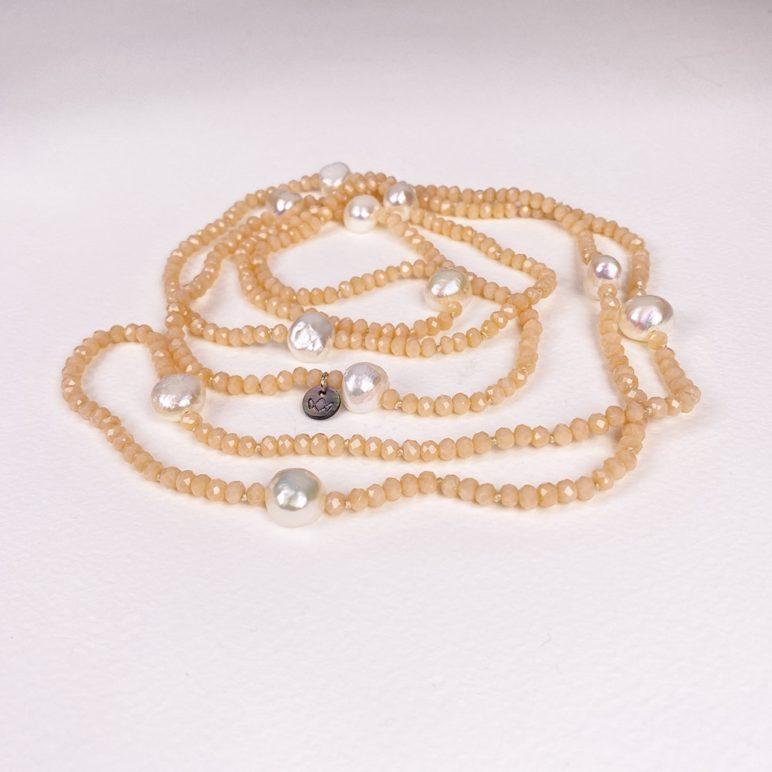 Rose Luna Crystal Long Necklace