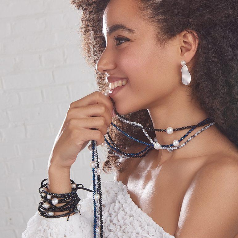 Black Luna Crystal Long Necklace