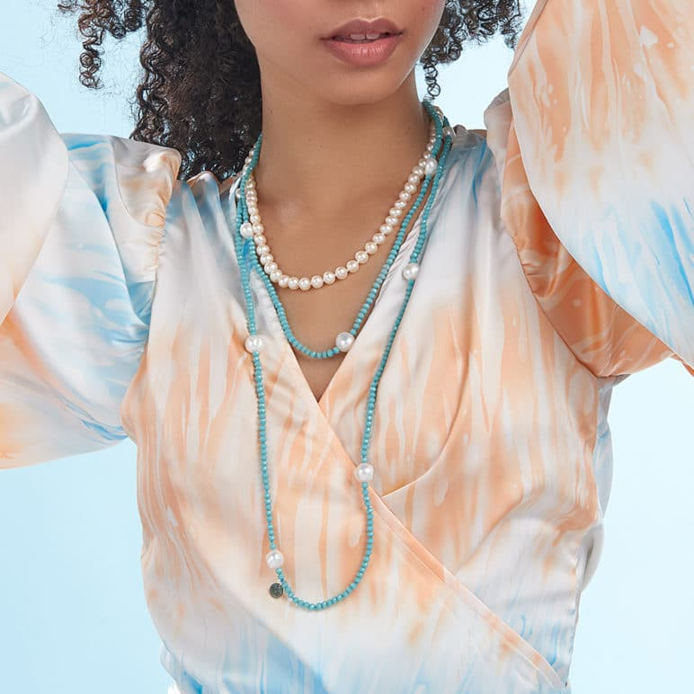 Turquoise Luna Crystal Long Necklace
