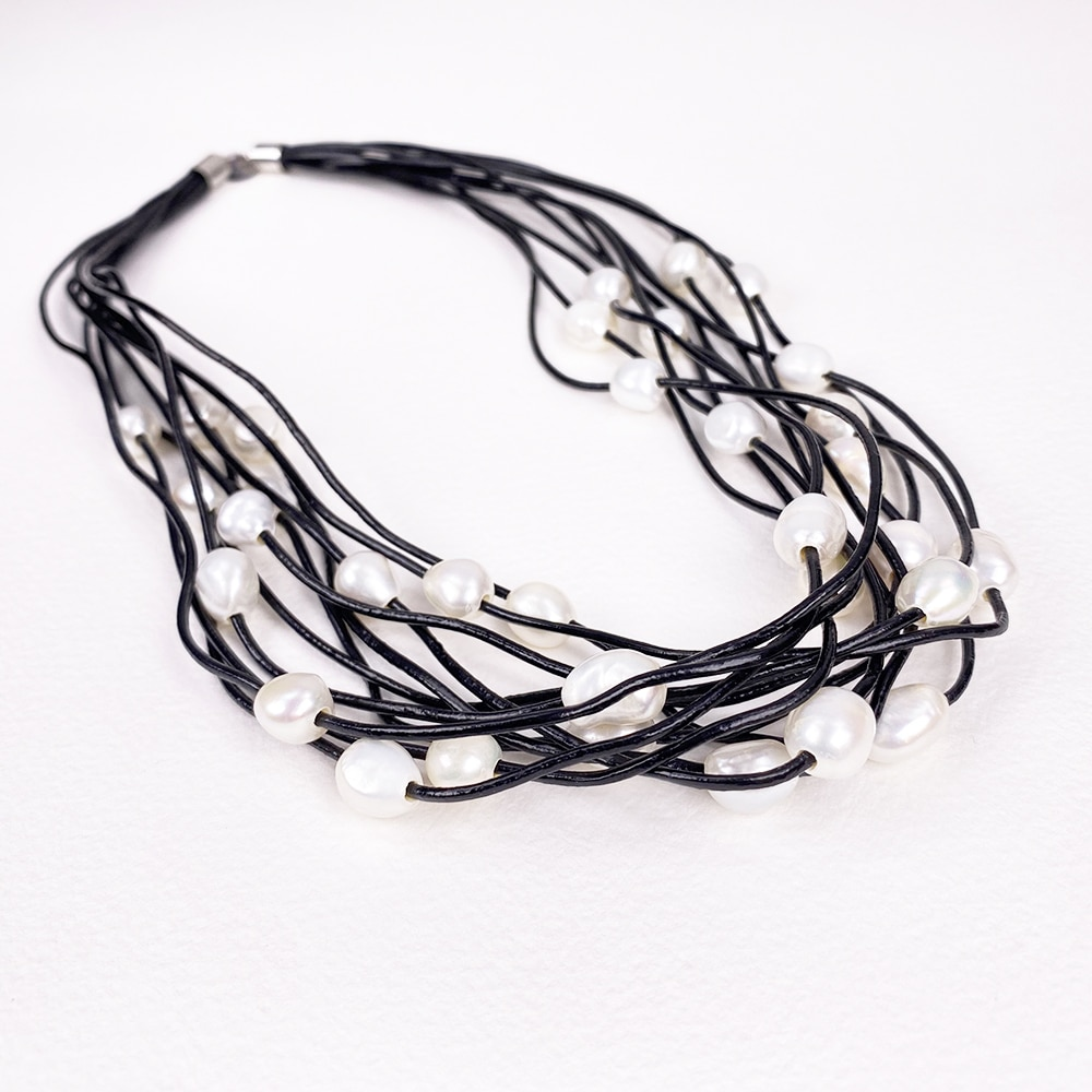 Black Calima Multi-Pearl Necklace