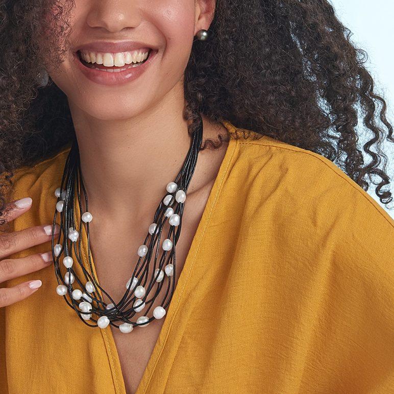 Black Calima Multi-Pearl Necklace