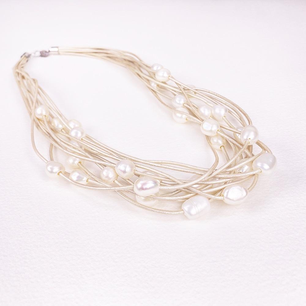 White Calima Multi-Pearl Necklace