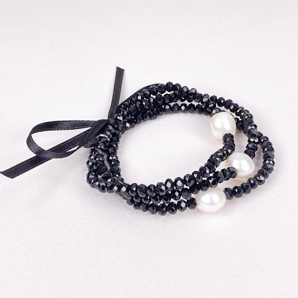 Black Luna Crystal Triple Bracelet