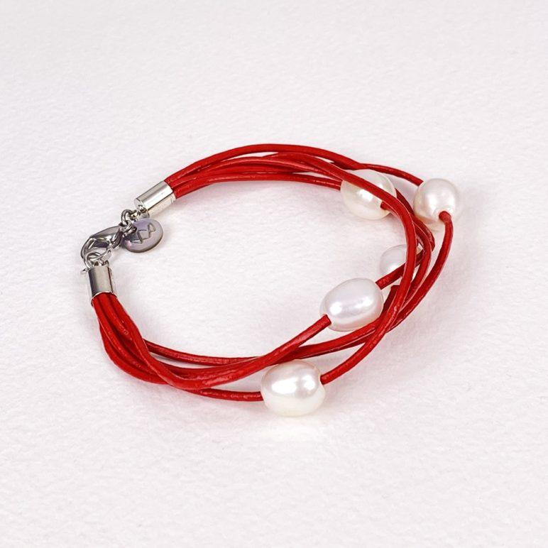 Red Calima Multi-Pearl Bracelet