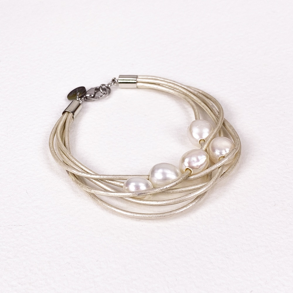 White Calima Multi-Pearl Bracelet