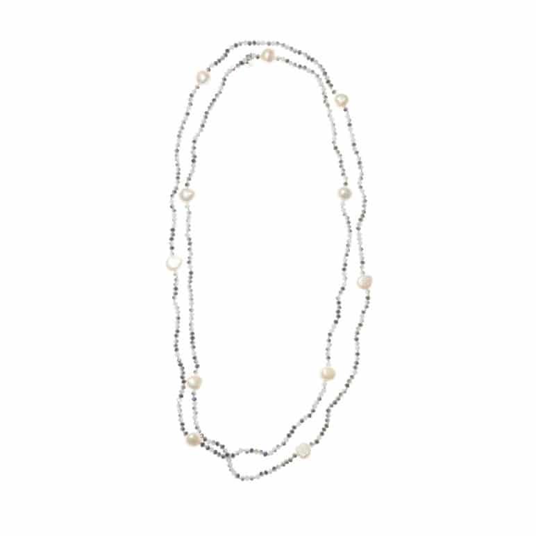 Grey Luna Crystal Long Necklace