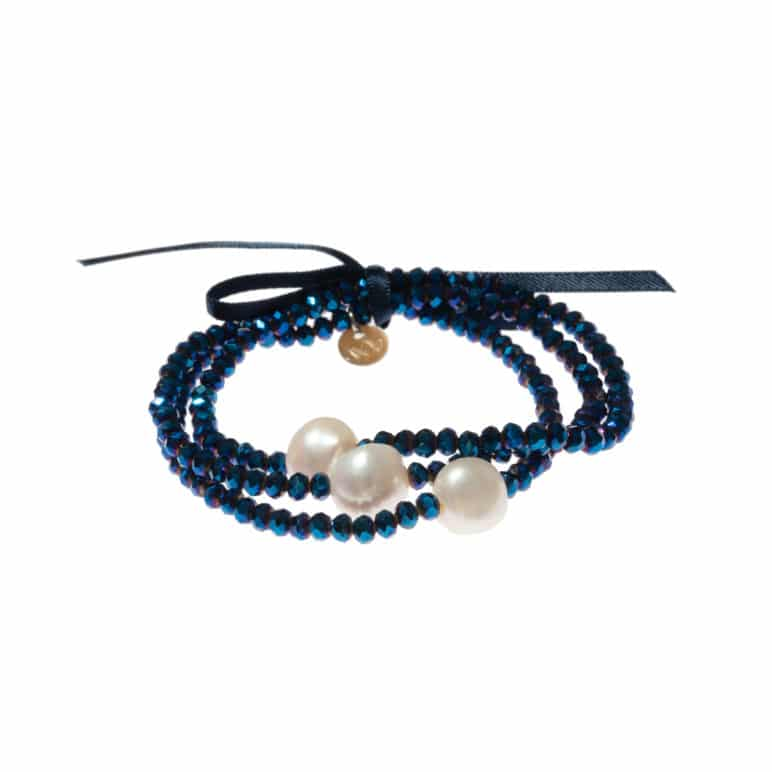 Navy Luna Crystal Triple Bracelet